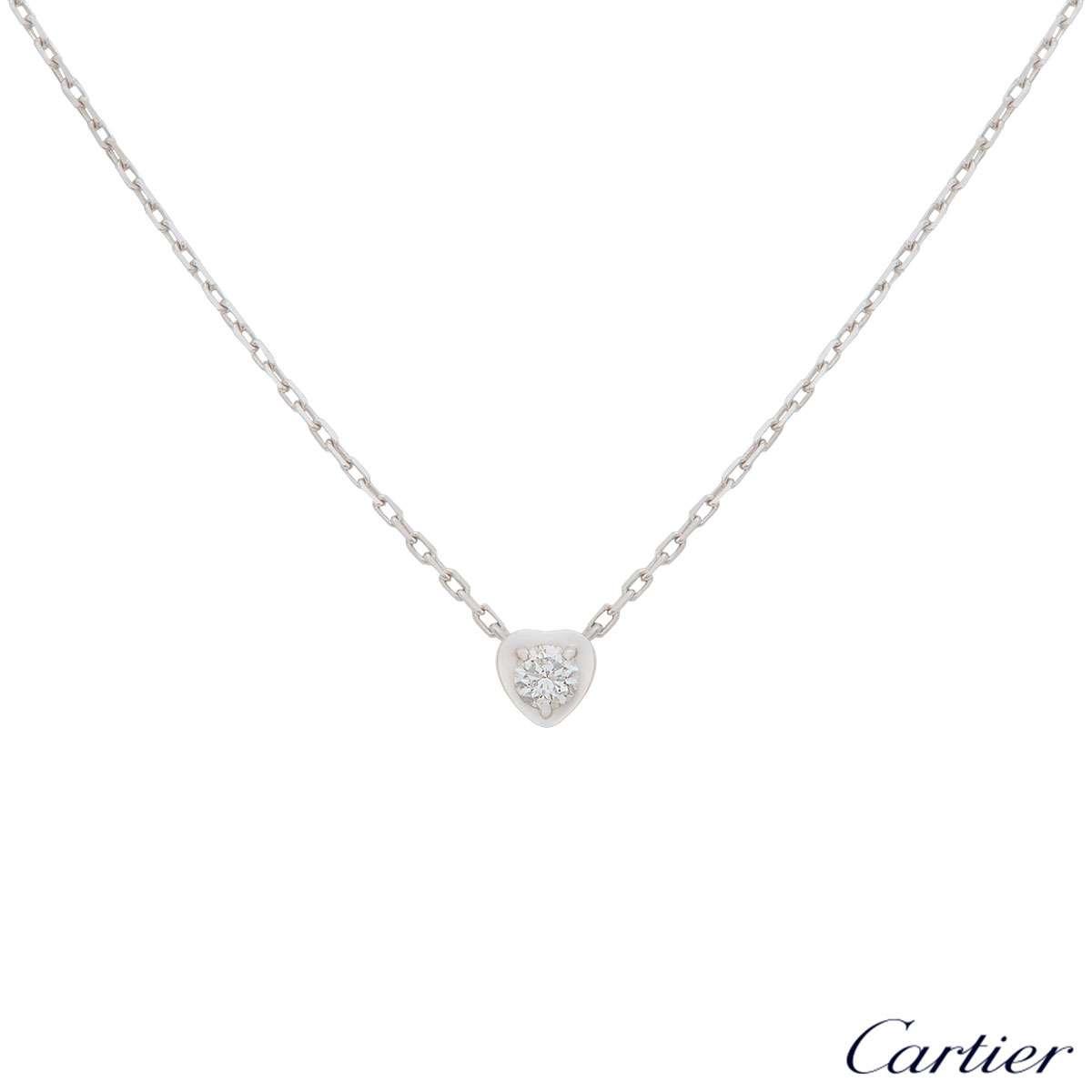 Cartier White Gold Diamants Légers Heart Necklace B7059300
